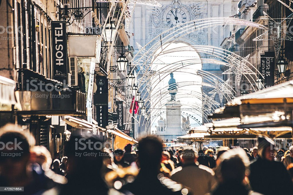 Crowded main street in Baixa. Lisbon, Portugal. stock photo