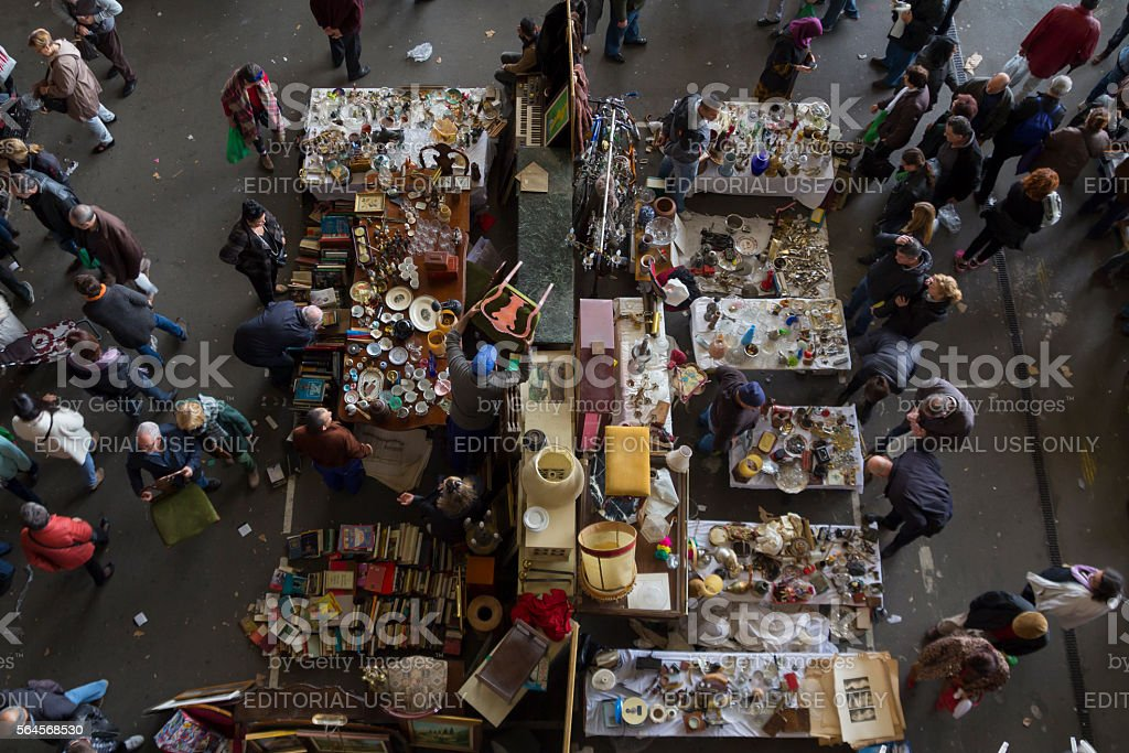 Crowded market in Barcelona stock photo