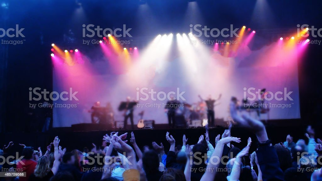 Crowded music concert in summer season stock photo