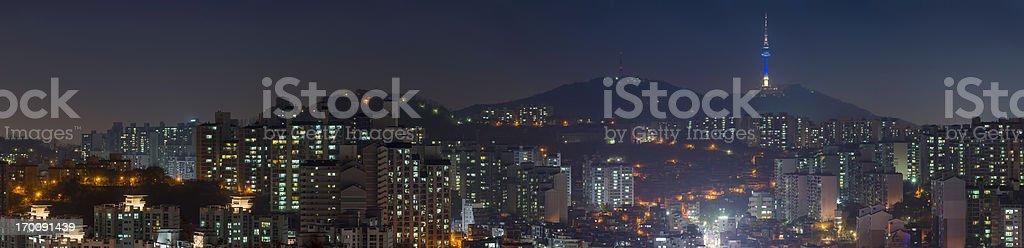 Crowded night city lights panorama Seoul Tower South Korea royalty-free stock photo