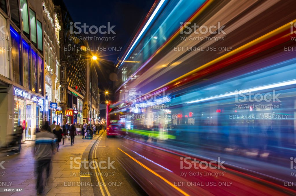 Crowded Oxford street in night, stock photo