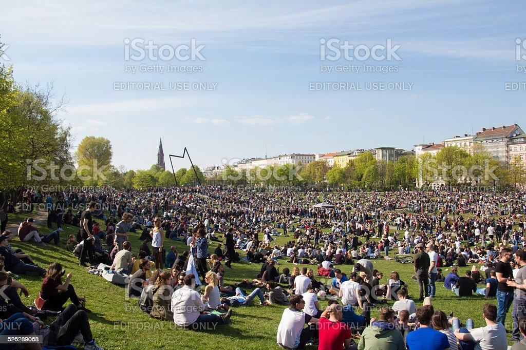 Crowded park (Goerlitzer Park) in Berlin, Kreuzberg during may stock photo