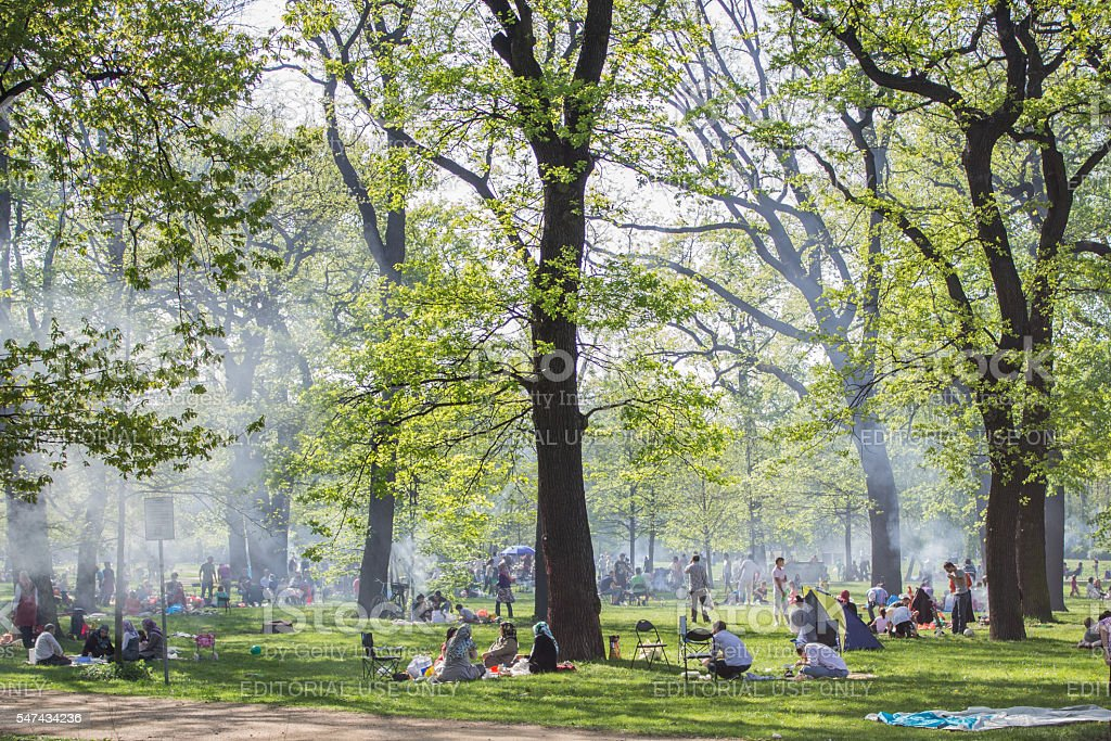 Crowded park with people doing barbecue stock photo