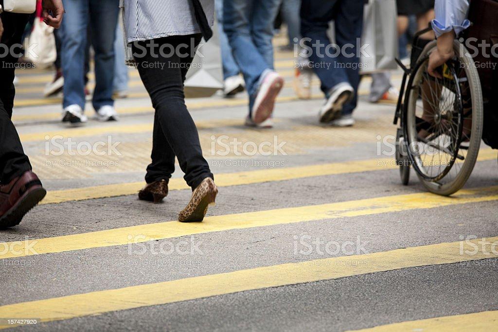 Crowded pedestrian crosswalk royalty-free stock photo