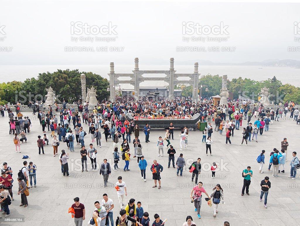 Crowded people in Putuoshan stock photo