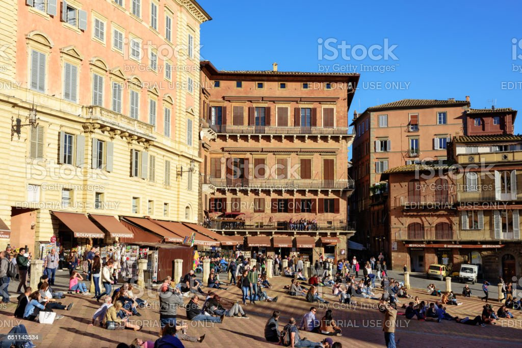 Crowded Piazza cel Campo in Siena, Italy stock photo