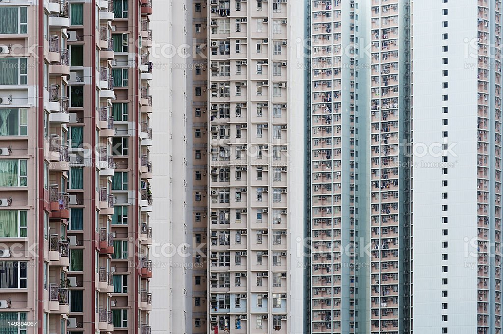 Crowded public estate in Hong Kong stock photo