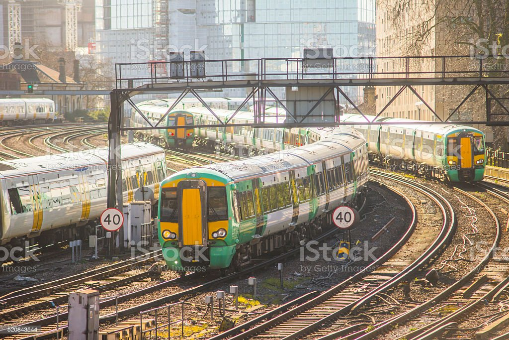 Crowded railroads stock photo