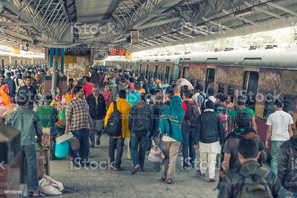 Crowded railway station in Kolkata stock photo