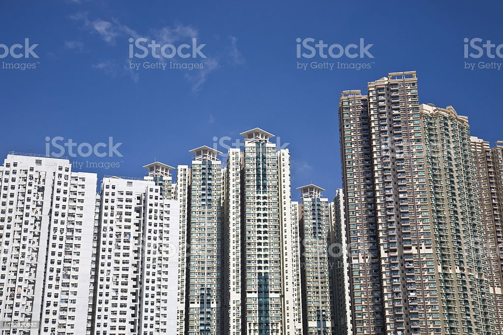 Crowded residential buildings in Hong Kong stock photo