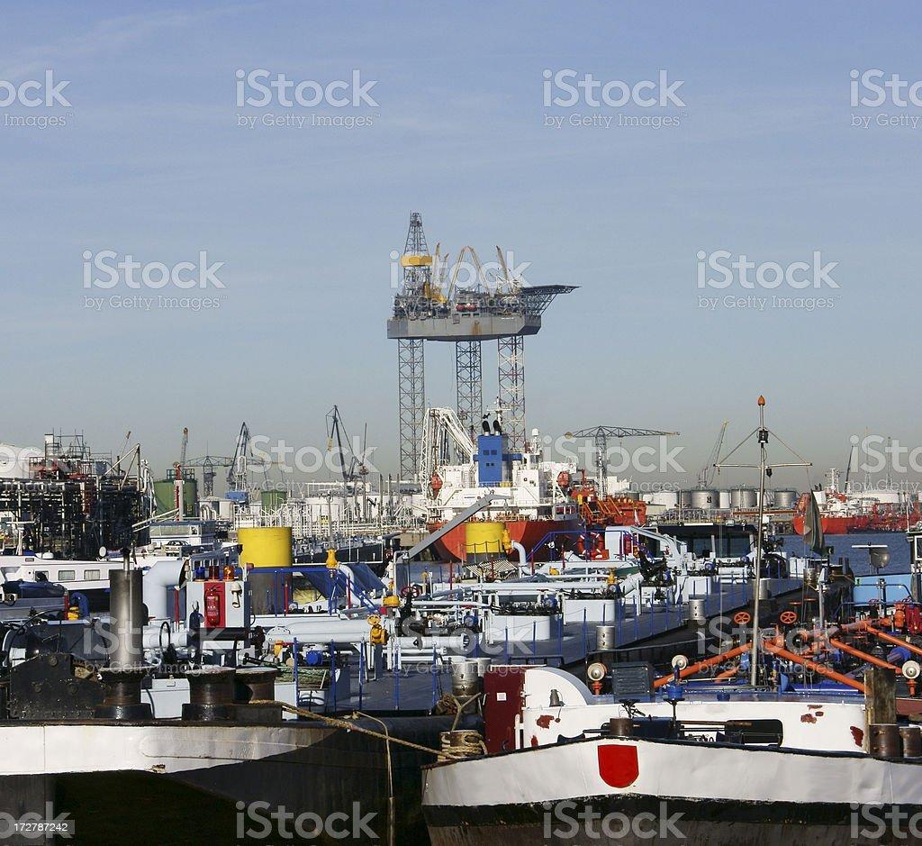 Crowded Rotterdam harbor royalty-free stock photo