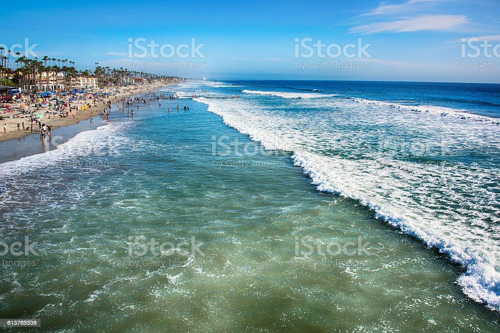 Crowded San Diego Area Beach stock photo