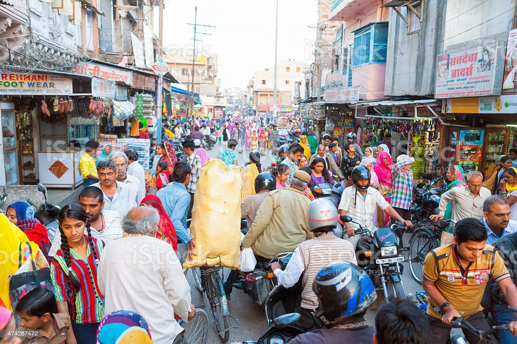 Crowded Sardar Market in Jodhpur, India stock photo