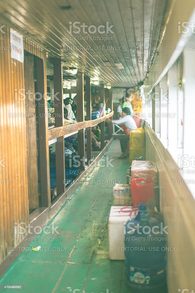Crowded ship in Indonesia stock photo