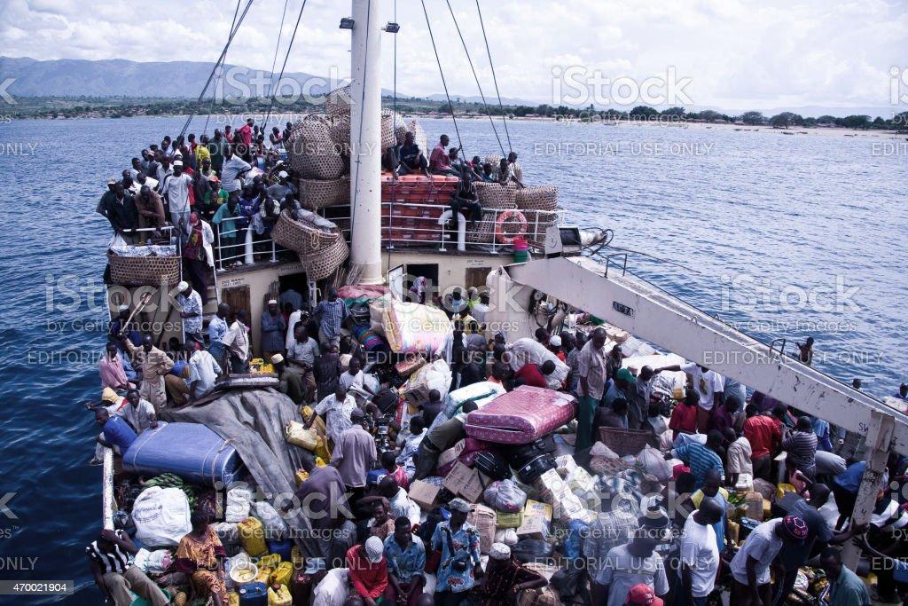 Crowded ship Liemba on Lake Tanganjika stock photo