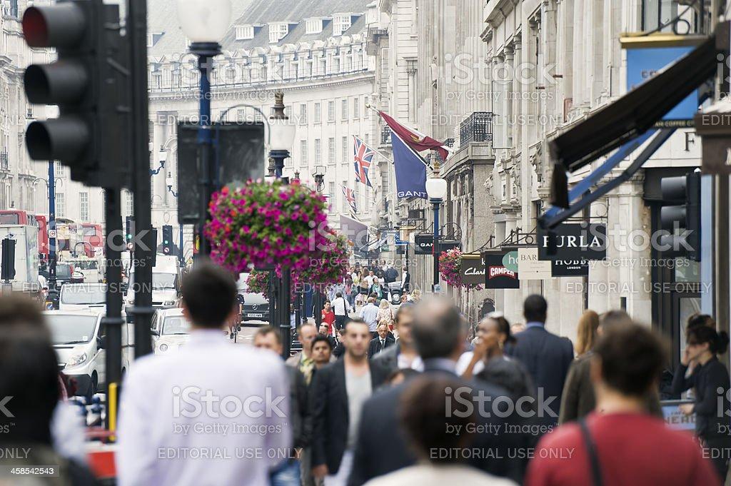 Crowded sidewalk on Regent Street, London royalty-free stock photo