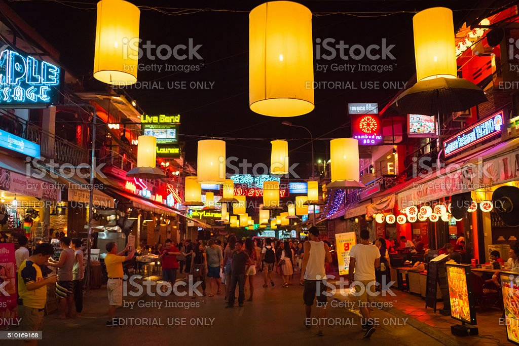 Crowded Siem Reap Pub Street Cambodia stock photo