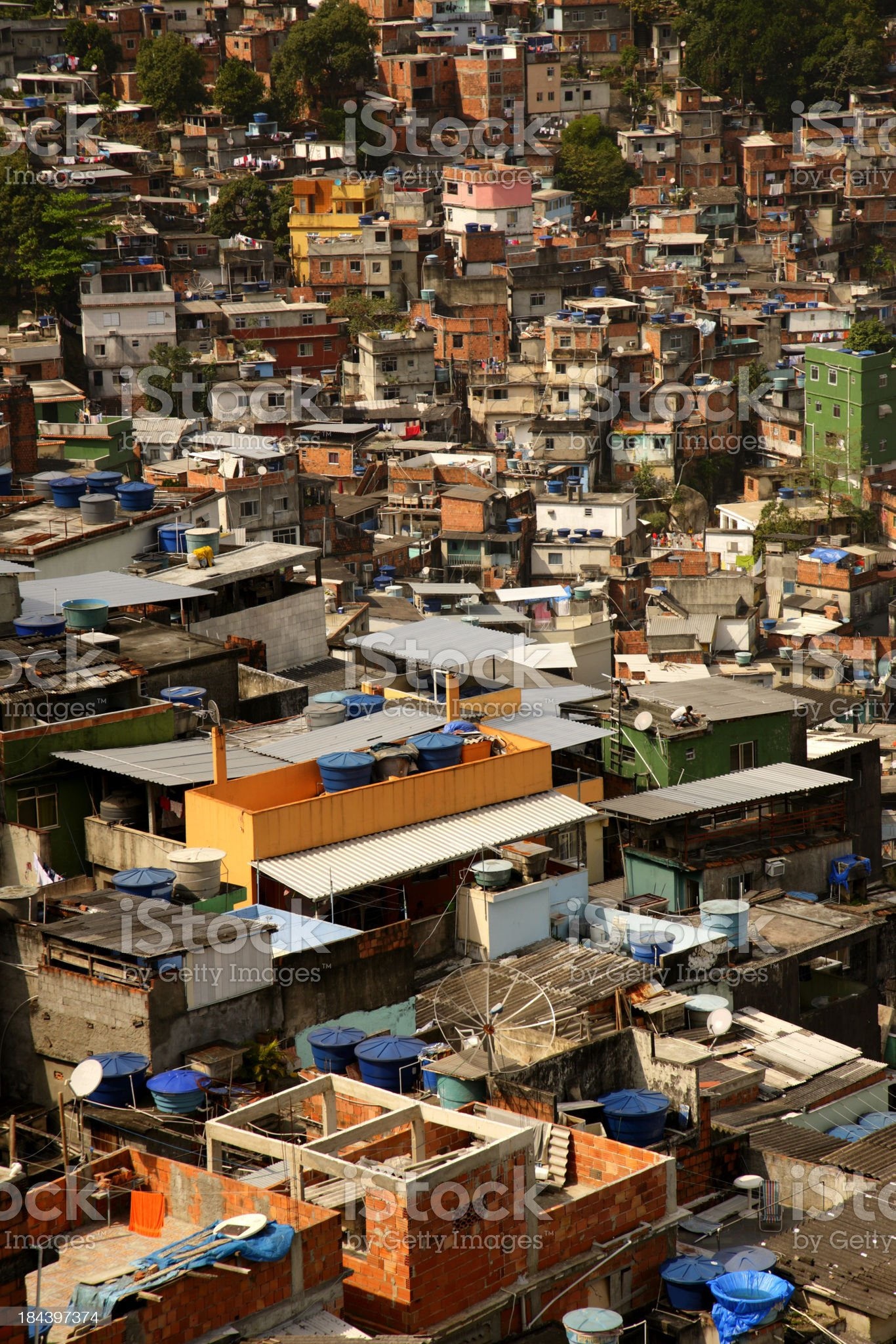 Crowded slum in Rio de Janeiro royalty-free stock photo
