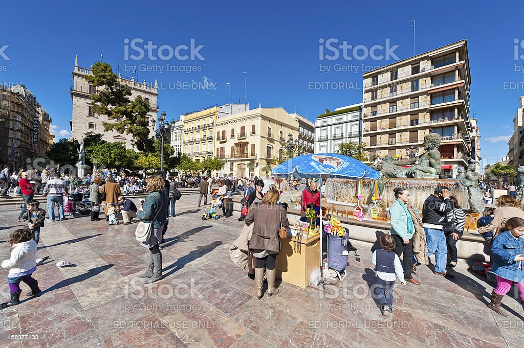 Crowded square tourists and local people Valencia Spain stock photo