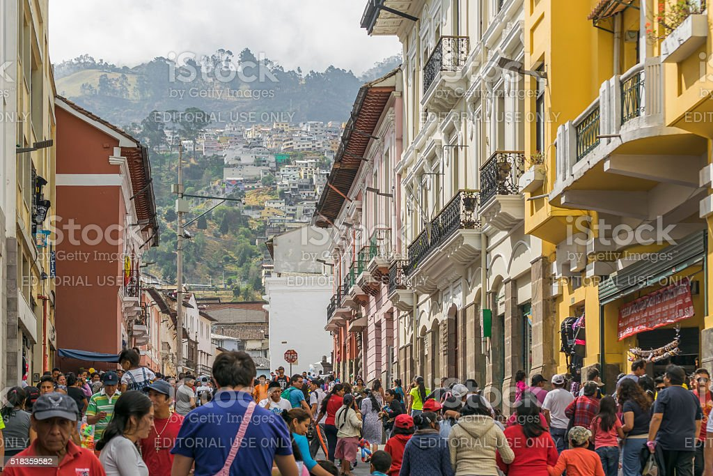 Crowded Street at Historic Center of Quito Ecuador stock photo