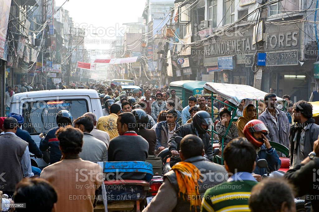 Crowded street in Chandni Chowk, New Delhi, India stock photo