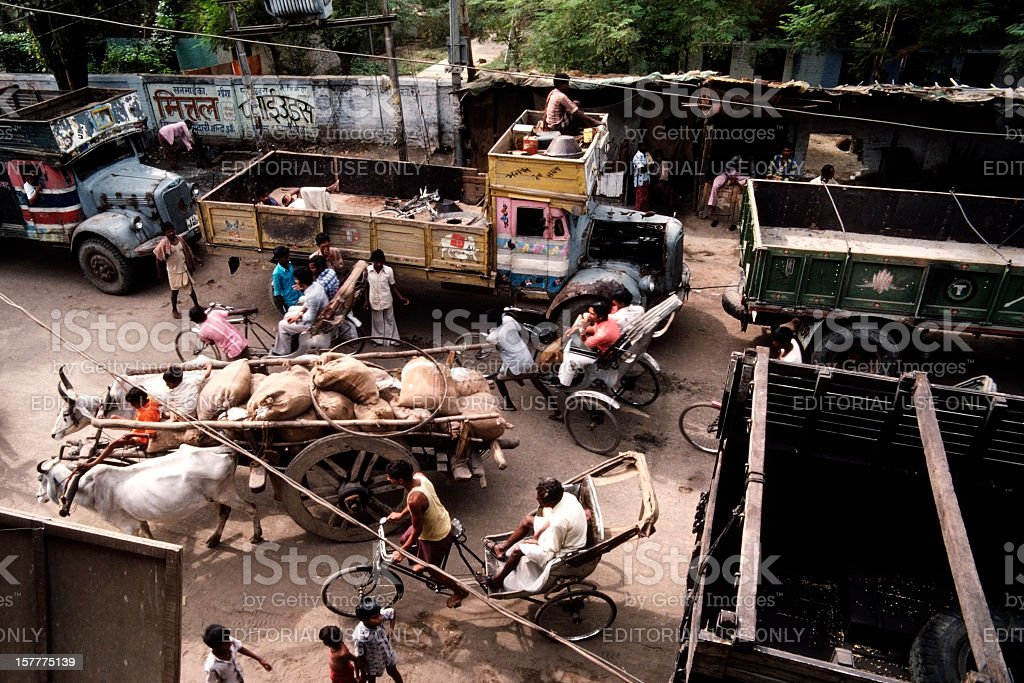 Crowded street in Gaya,India stock photo
