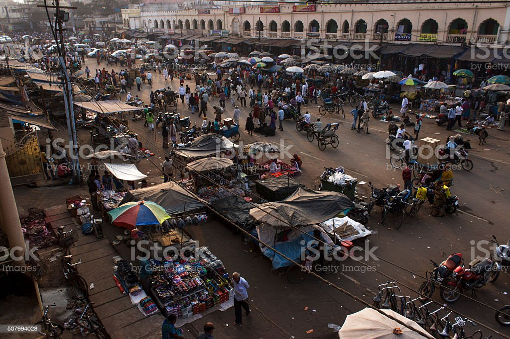 Crowded street in India stock photo