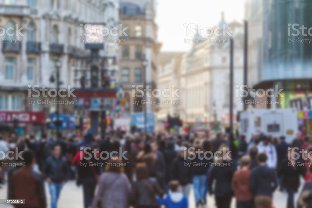 Crowded street in London full of out of focus people stock photo