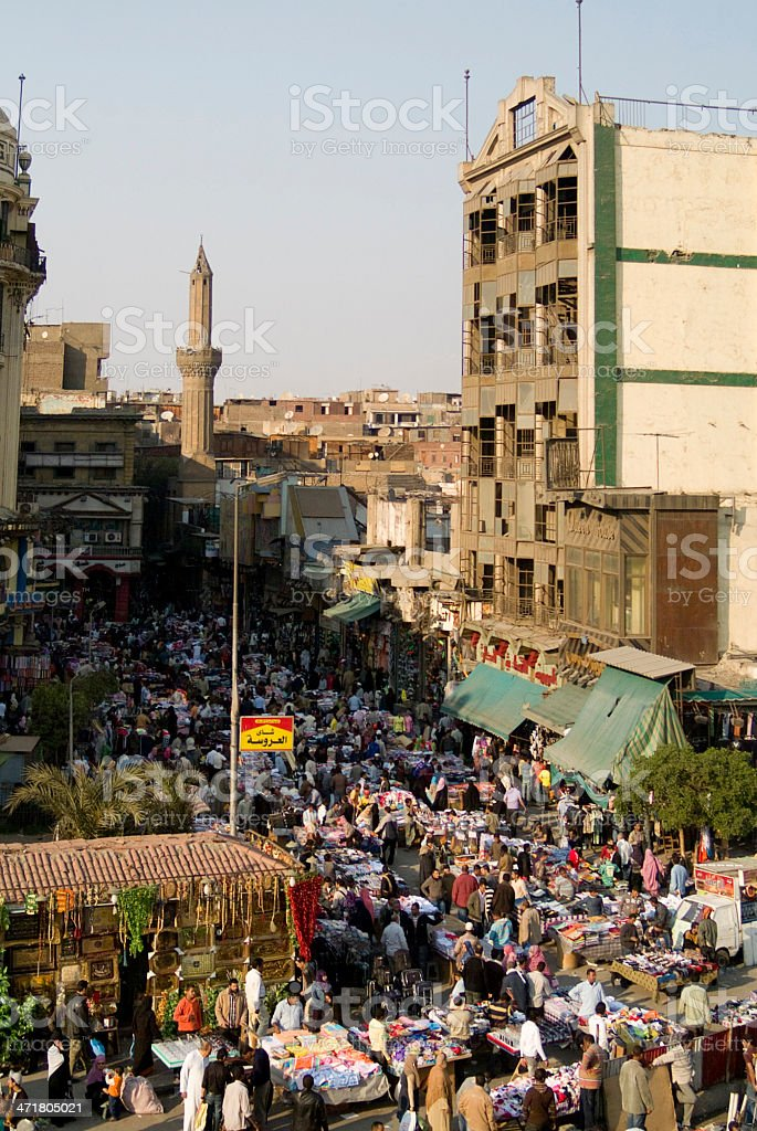 Crowded street market in Cairo royalty-free stock photo