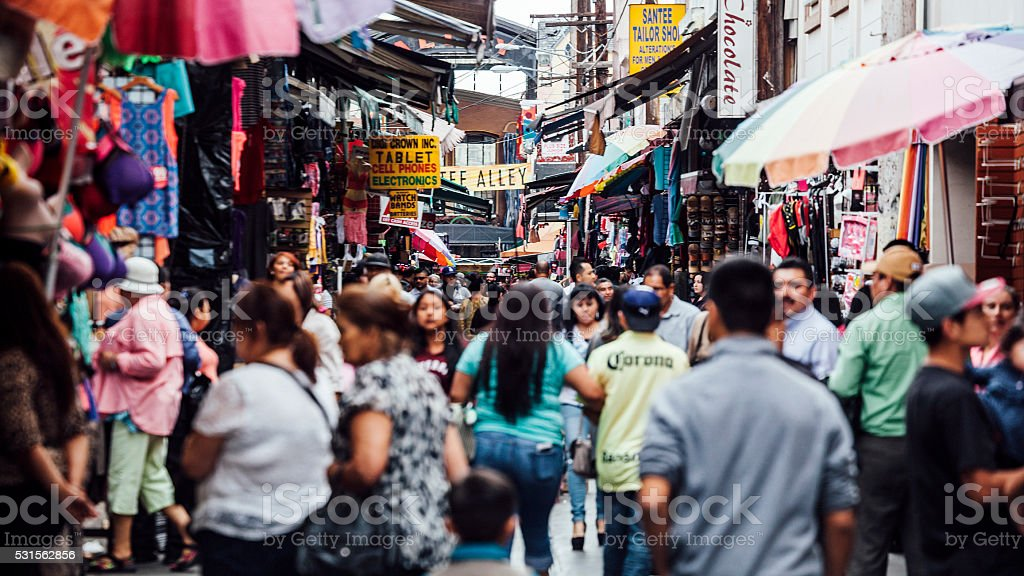 Crowded streets in Fashion district, Los Angeles. stock photo