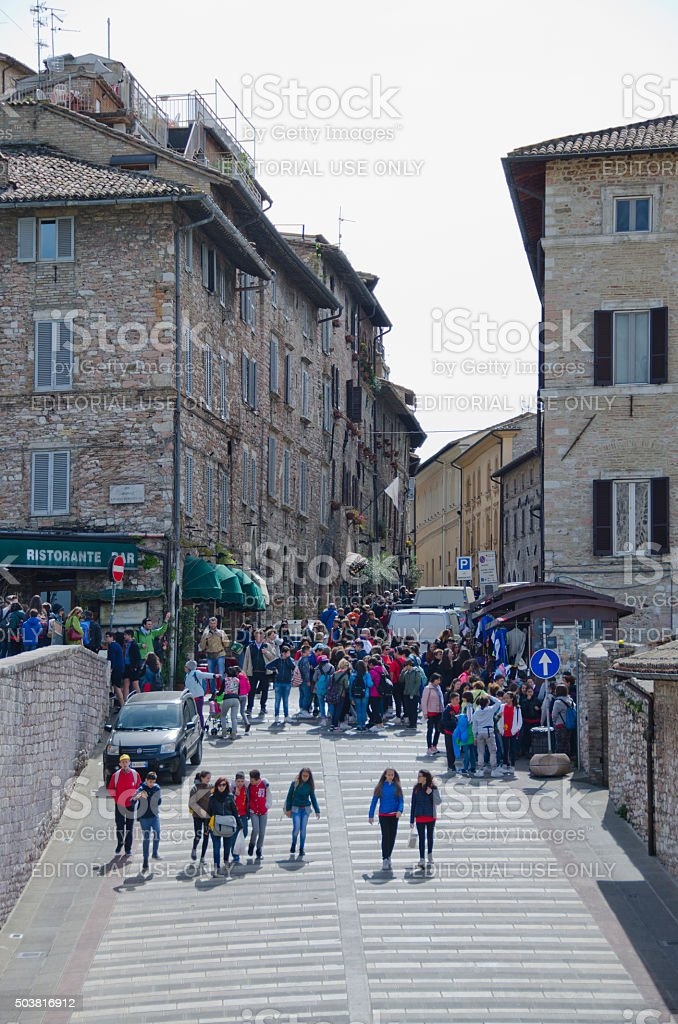 Crowded Streets of Assisi, Italy stock photo