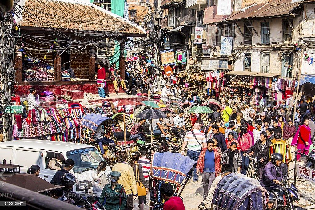 crowded streets of kathmandu stock photo