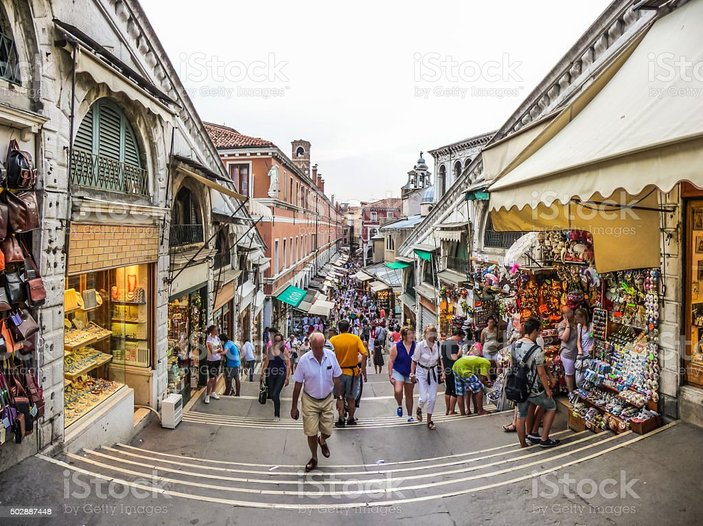 Crowded Streets of Venice from famous Rialto Bridge, Italy stock photo