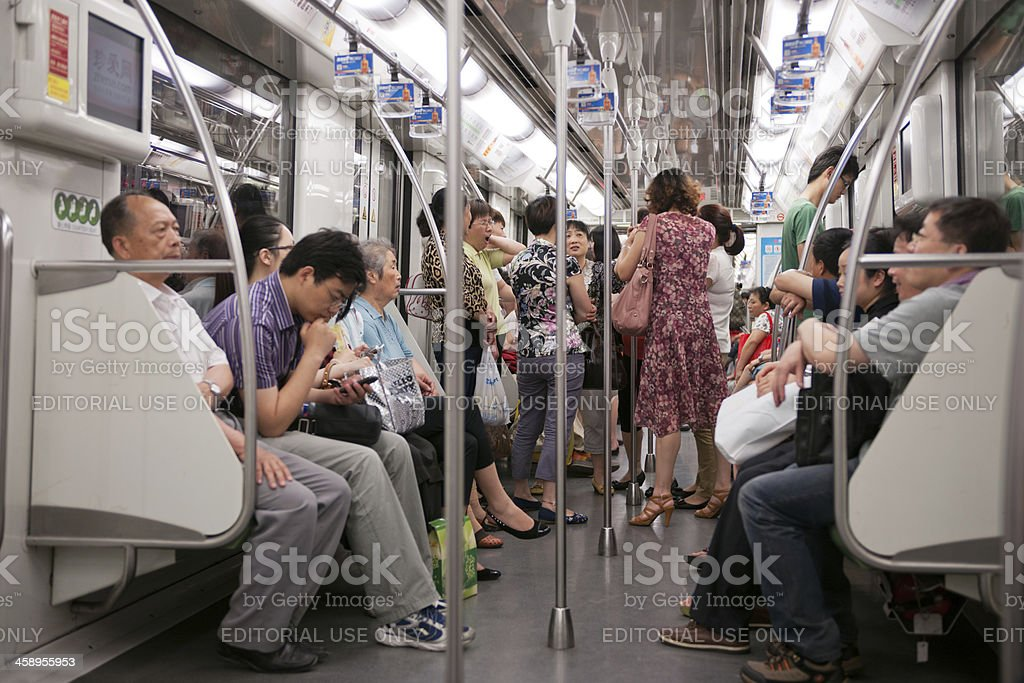 Crowded Subway, Shanghai, China royalty-free stock photo