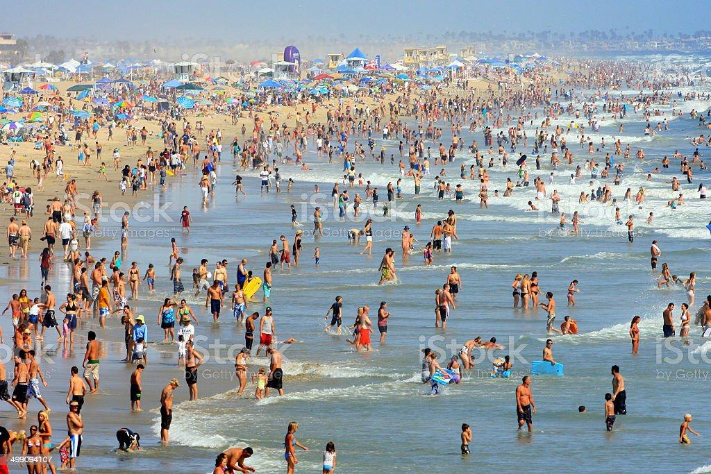 Crowded Summer Beach stock photo
