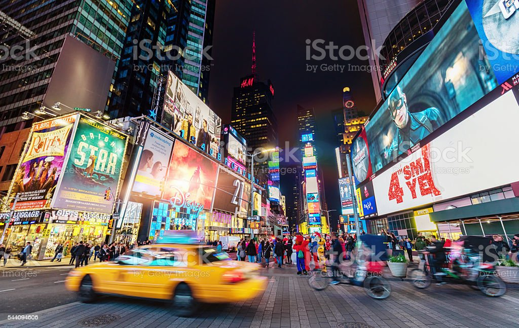 Crowded Times Square New York City stock photo