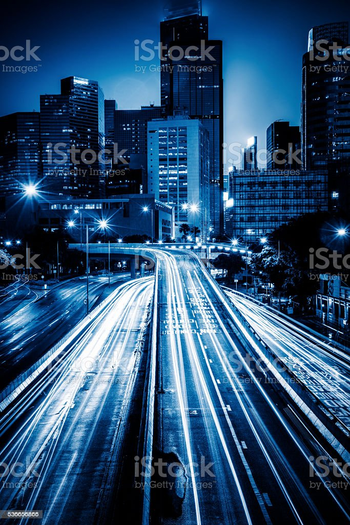 crowded traffic in the downtown district,hong kong stock photo