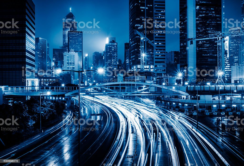 crowded traffic in the downtown district,hongkong stock photo
