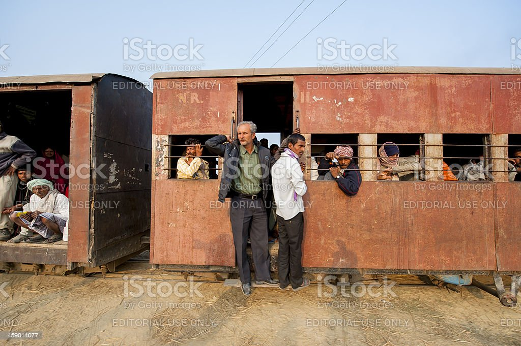 Crowded train between Nepal and India stock photo