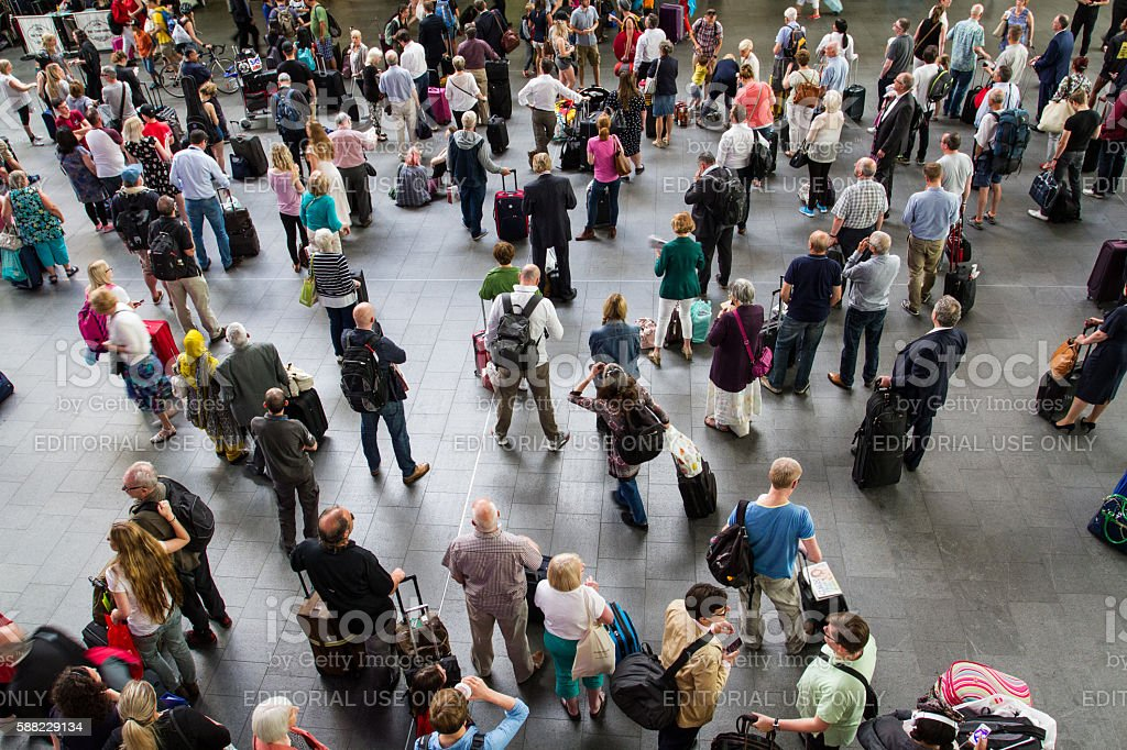 Crowded Train Station Concourse stock photo