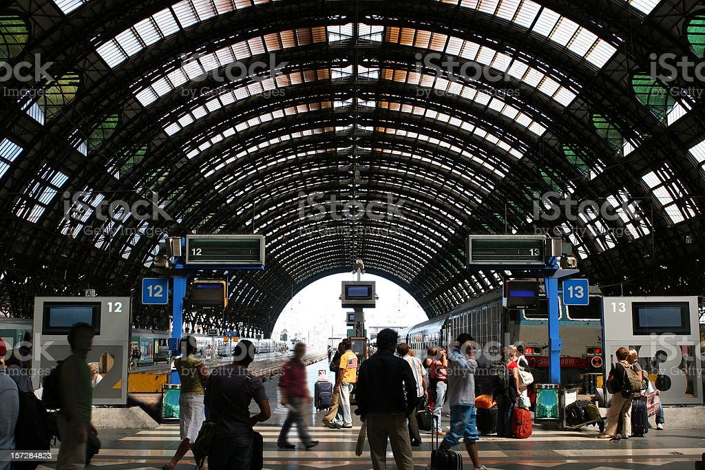 A crowded transportation station in Milan royalty-free stock photo