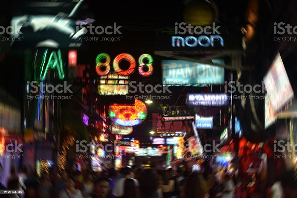 Crowded Walking street neon lights in Pattaya, Thailand stock photo