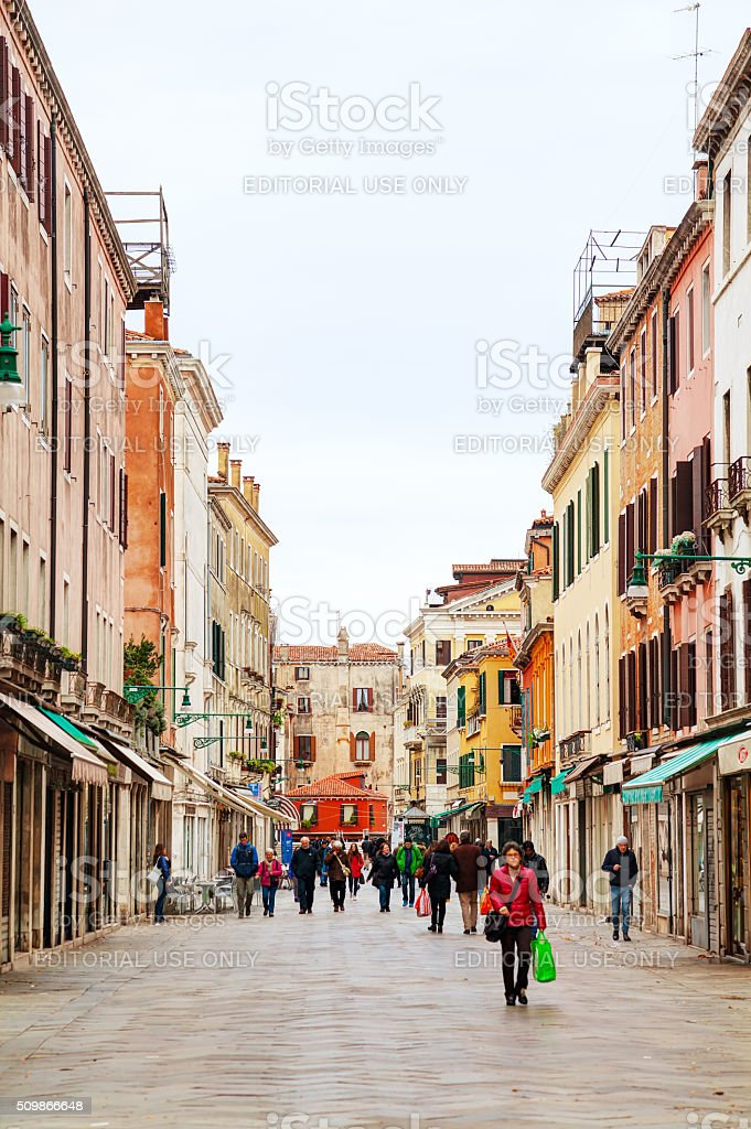 Crowded with tourists street in Venice stock photo