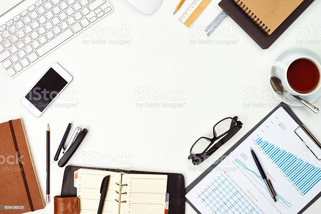 Business frame with various business items on white background
