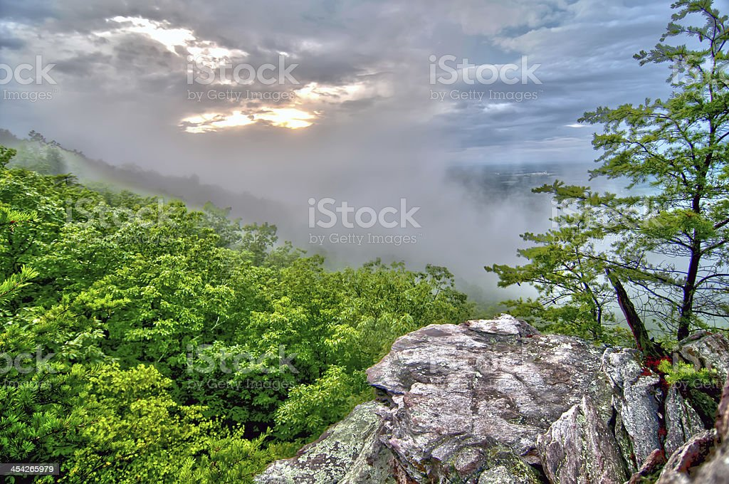 crowders mountain views with clouds and fog royalty-free stock photo