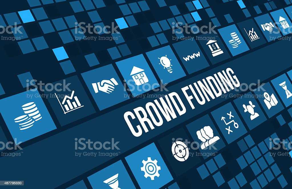 crowdfunding concept image with business icons and copyspace. stock photo