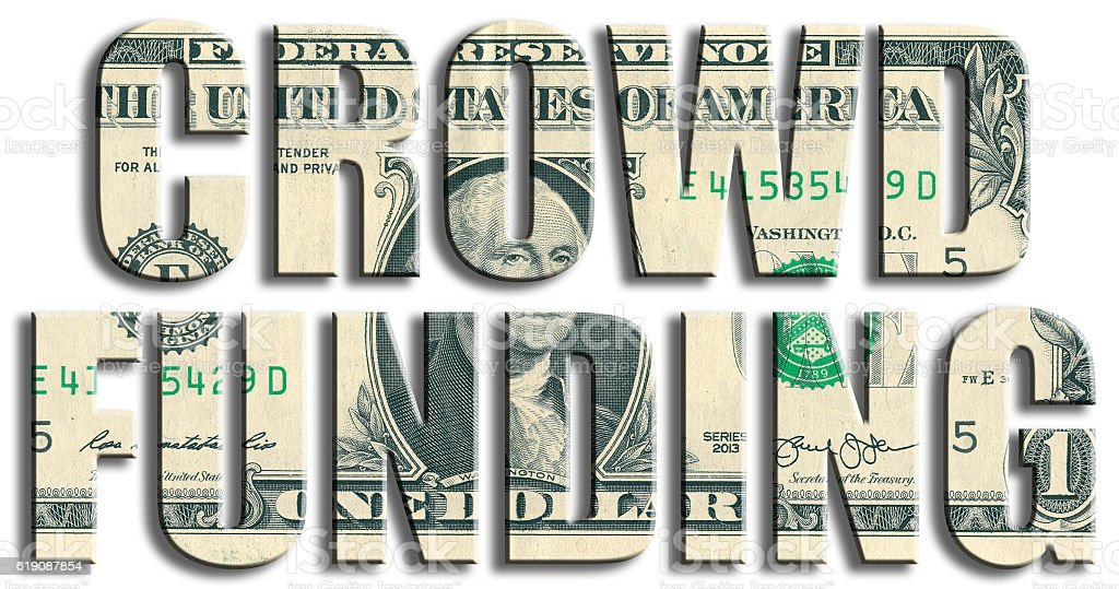 Crowdfunding or fundraising. US Dollar texture. stock photo