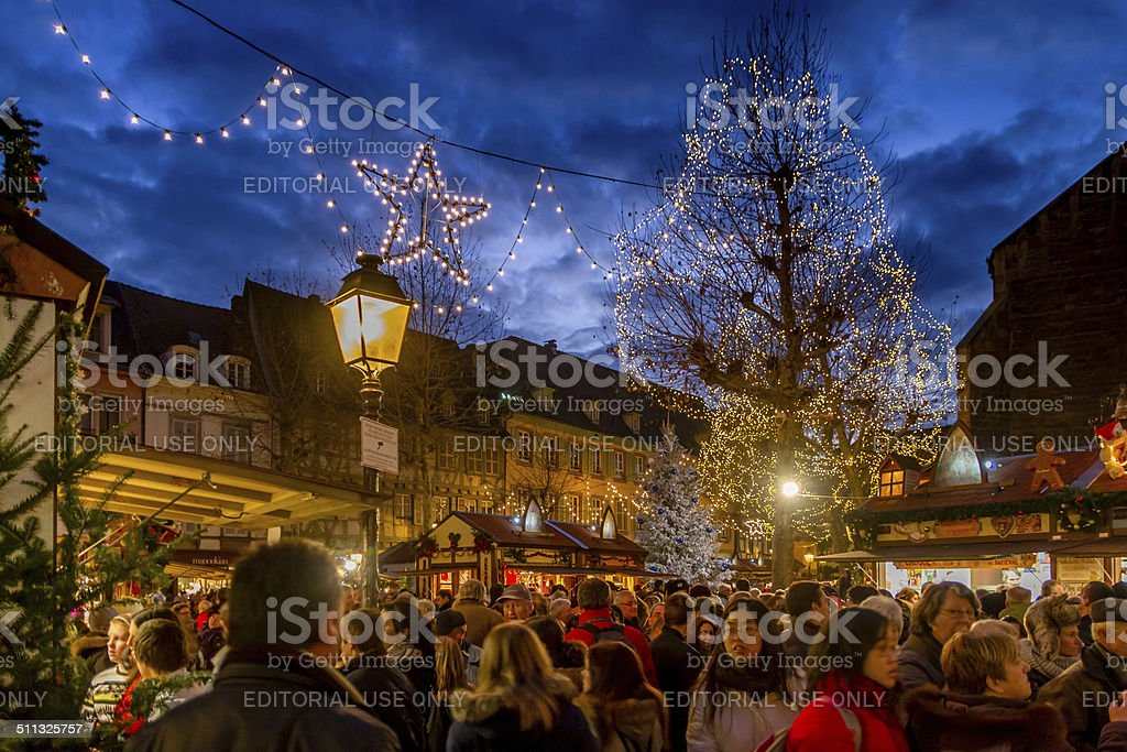 Crowds at Colmar Christmas Market stock photo
