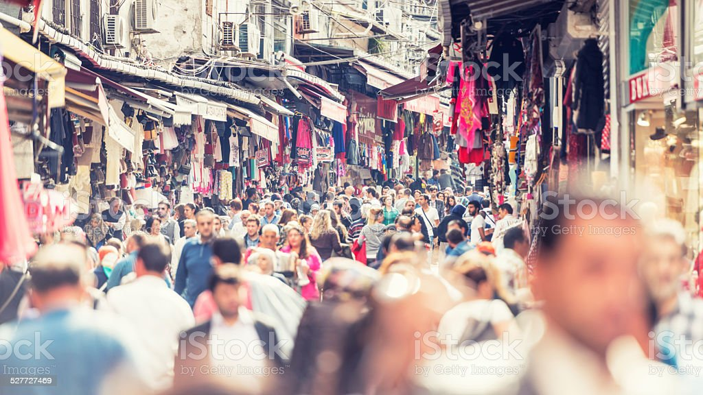 Crowds at Eminonu district of Istanbul stock photo