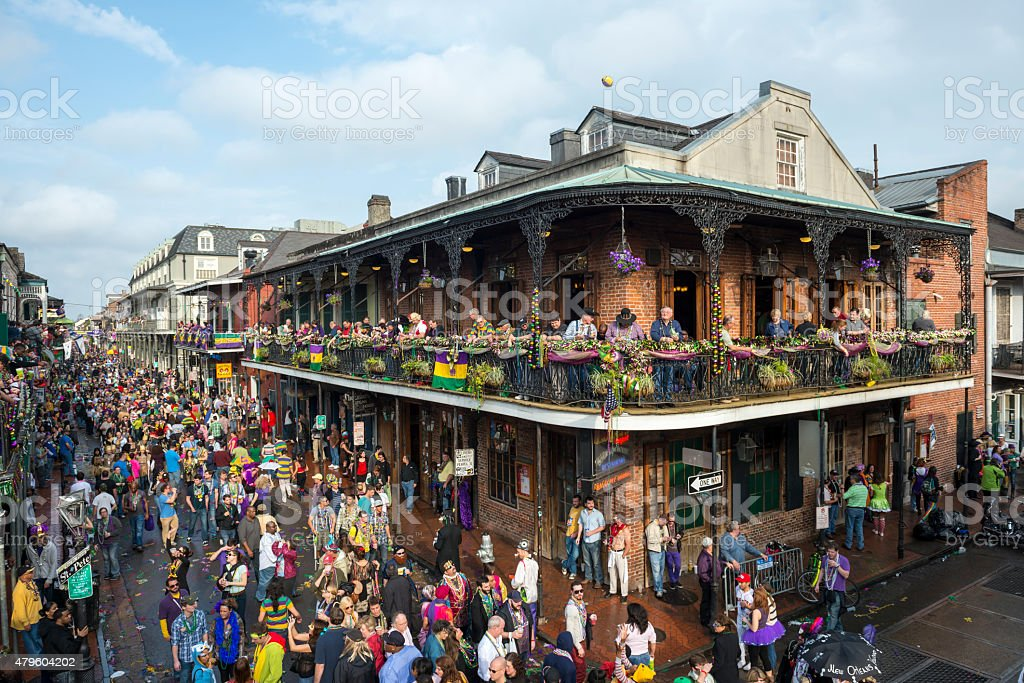 Crowds at Mardi Gras 2013 stock photo